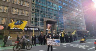 """המחאה בניו יורק על רצח אהוביה סנדק הי""""ד"""